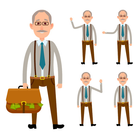 Elderly Person Holding Bag with Money on White Illustration