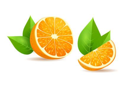 Orange with Leaves Cartoon Isolated Illustration Illustration