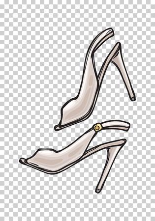 Women s Shoes with Open Toe in Cartoon Art Style Ilustração