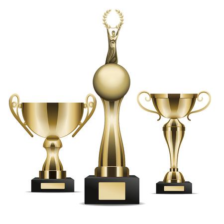 Set of Golden Trophy Cups Winner Graphic Art Icon