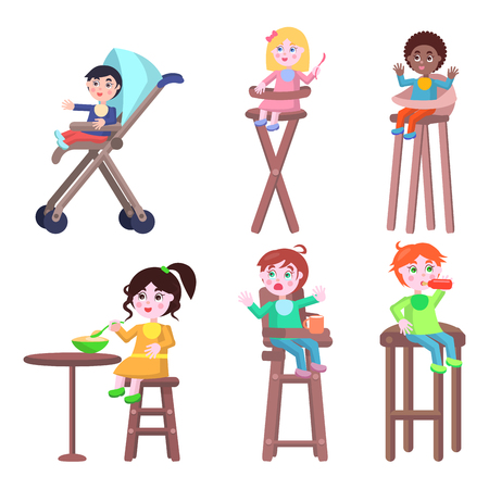 capricious: Toddlers on Children High Chairs Flat Vector
