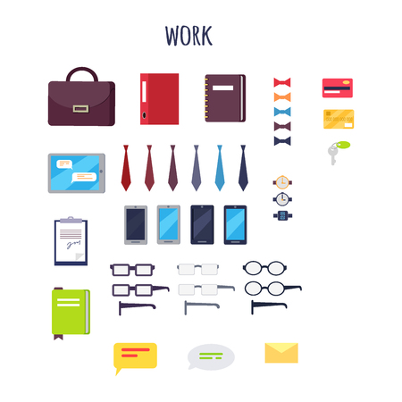 Cartoon Work Equipment Isolated Illustrations Set