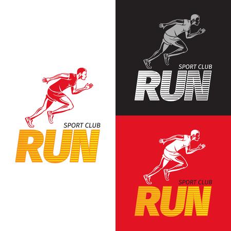 Running Sportsman on Different Background. Sport Club
