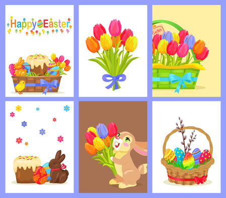 Set of Happy Easter with Flowers and Sweet Dessert Stock Vector - 75410984
