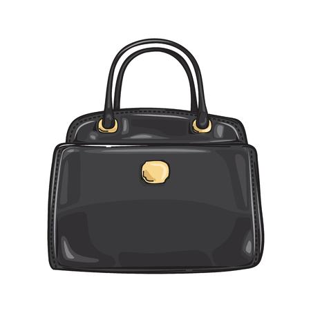 bac59ab68e96 Black Lady s Bag Close-up Fashion Accessory Flat Illustration