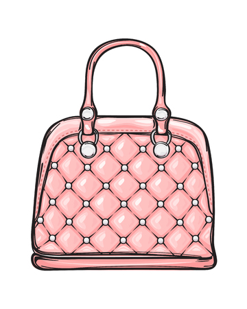 Trendy Leather Pink Bag Isolated Illustration 일러스트