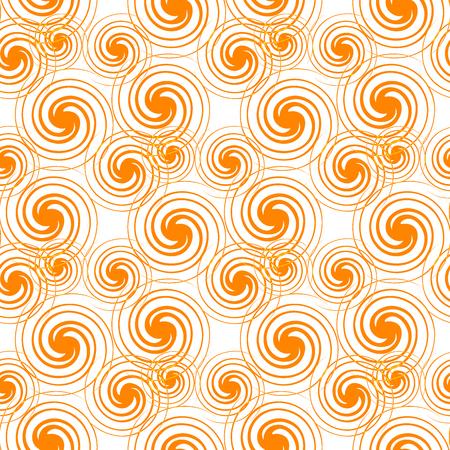 Seamless Pattern Orange Swirls Isolated on White