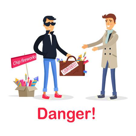 Proceso de compra de un estuche falsificado con fuegos artificiales