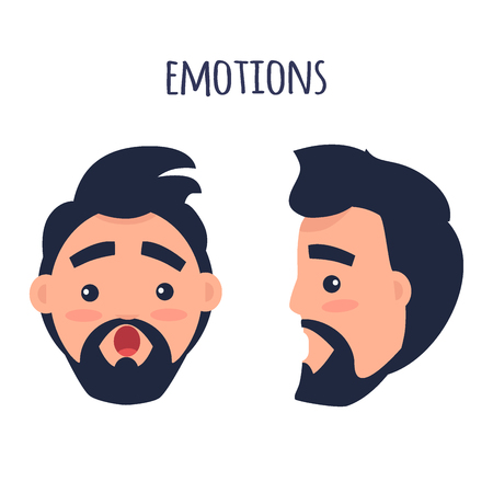 Surprised Emotion. Face from Different Angles Vector