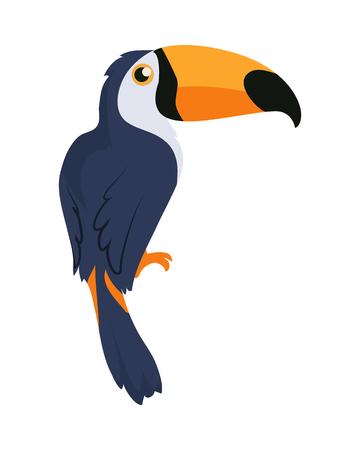 Toucan Bird Cartoon Icon in Flat Design