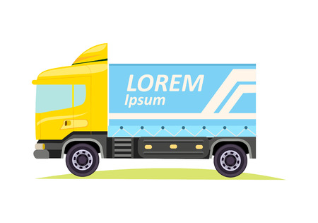 Blue Large Truck with Emblem on White Background