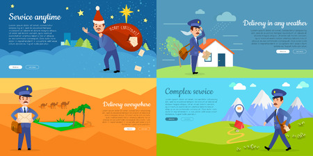 postman of the desert: Delivery Service Vector Cartoon Web Banners Set