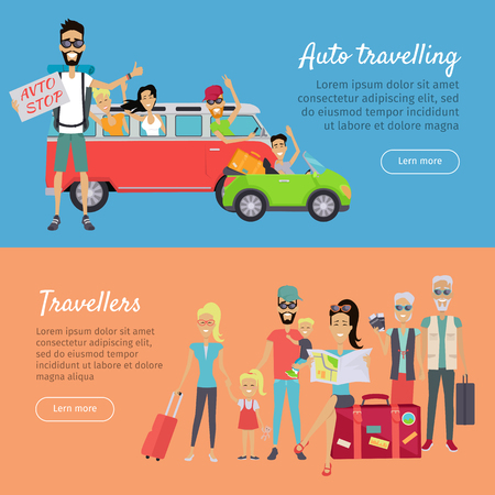 Auto Traveling and Travelers Banners Illustration