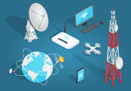 Set of Wireless Connection in Flat Cartoon Style