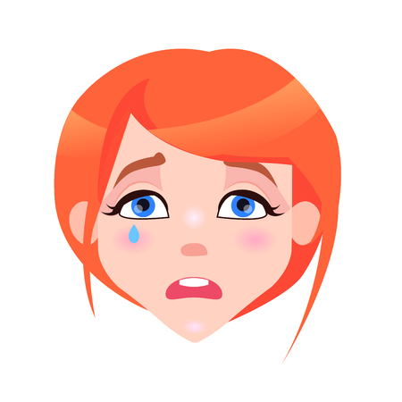 Woman Crying Face with Pink Cheeks and Tear Illustration