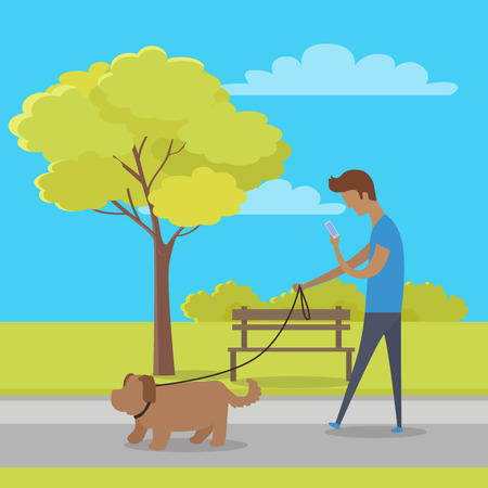 dog walking: Leisure in City Park Flat Vector Concept Illustration