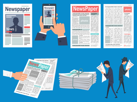 folded paper: Newspapers Headlines Flat Vector Concepts Set