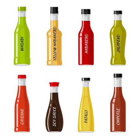 Set van glazen flessen vol met hete sauzen vectoren