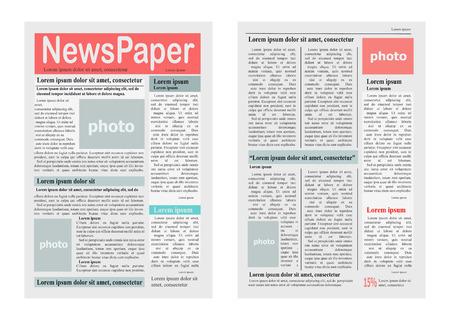 Twee krantenpagina's Vectorillustratie op wit