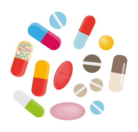 Colored Pills and Capsules. Big Medical Set Vector