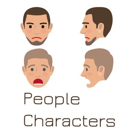 Man Emotive Faces Collection Flat Vector