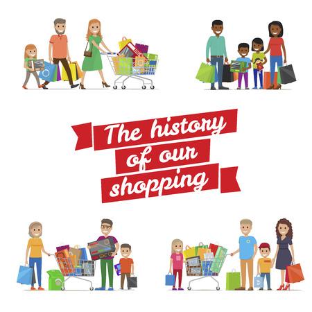 私たち家族のショッピング ベクトルのポスターの歴史