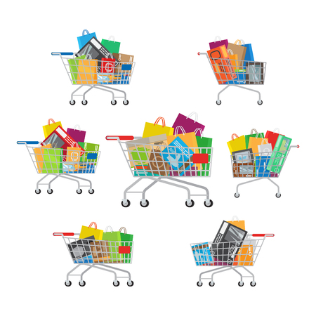 Carts Set. Seven Full Cartoon Shopping Trolleys. Stock Vector - 75684831