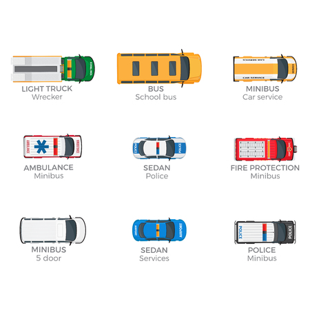 Emergency Vehicles Top View Vector Icons Set Çizim