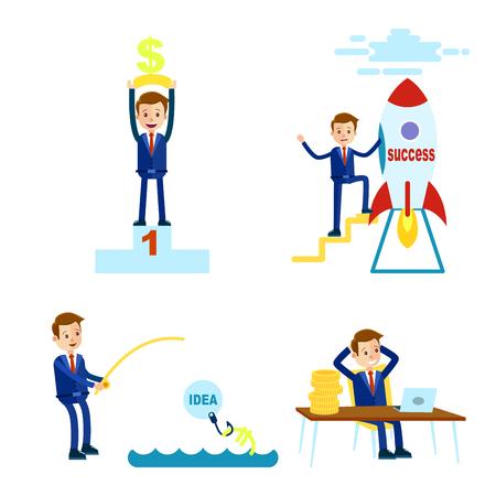 Prosperous Cartoon Businessman Illustrations Set
