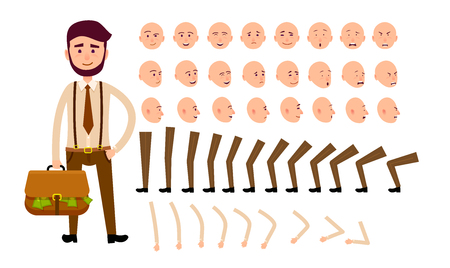 Cartoon Man Constructor Isolated Illustration Ilustração