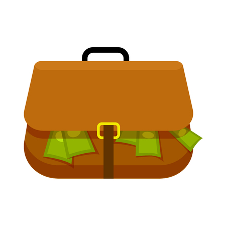 Brown Briefcase Full of Green Money Flat Theme Illustration