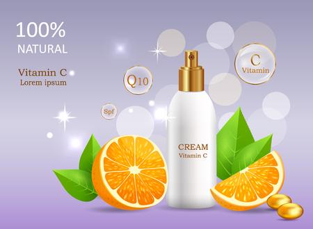 Crema naturale con vitamina C in tubo vettoriale rotto