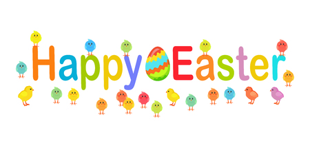 Happy Easter Text Decorated with Chicks and Eggs