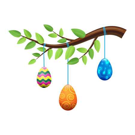 Easter Eggs on Branch with Leaves Illustration