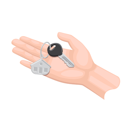 Human arm lends house key with trinket on white background.