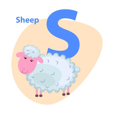 Karakter S Vrolijke Schapen op ABC voor Kinderen Stock Illustratie