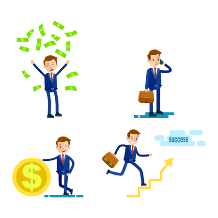 Lifestyle of Successful Businessman Flat Design Illustration