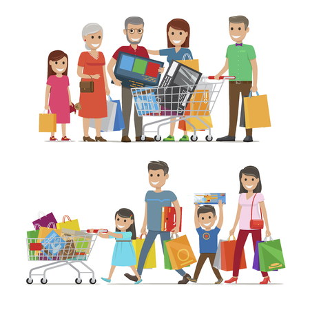 Families Shopping Concept Illustration. Illustration