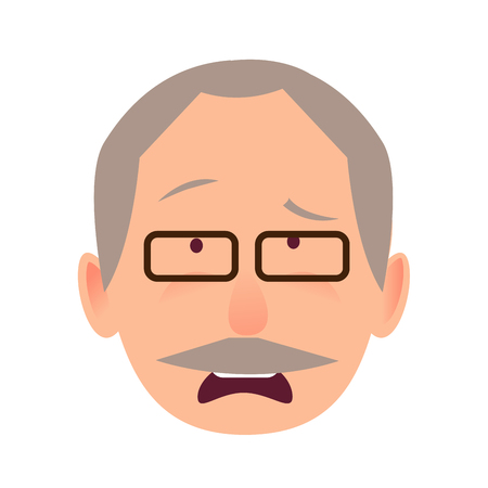 man: Sorrowful Face Emotion on Elderly Man Head Vector Illustration