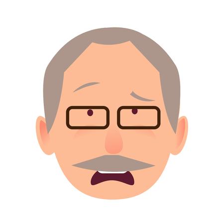 Sorrowful Face Emotion on Elderly Man Head Vector Illustration