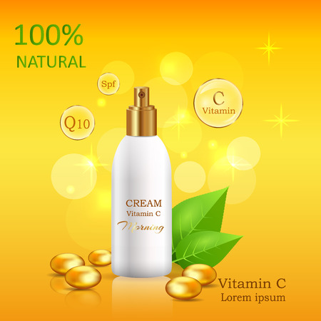 Natural Cream with Vitamin C in Glossy Tube Vector Ilustrace