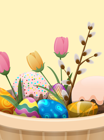 Set of Easter Cake, Color Eggs, Flowers and Willow Illustration