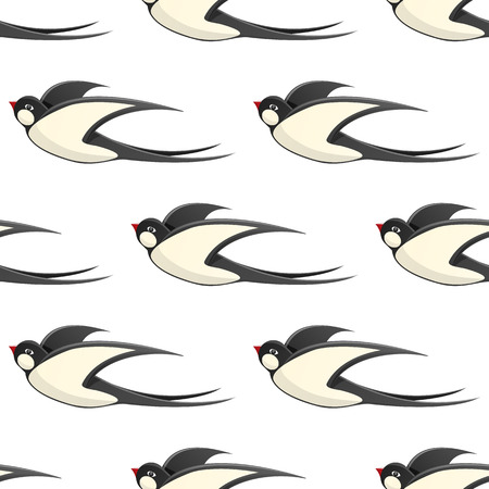 Flying swallows Vector Seamless Pattern on White Illustration