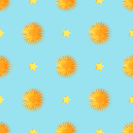 Urchins with Starts Seamless Pattern Vector.