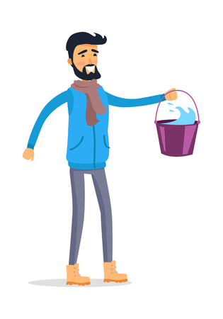 Cartoon Man with Bucket of Water. Çizim