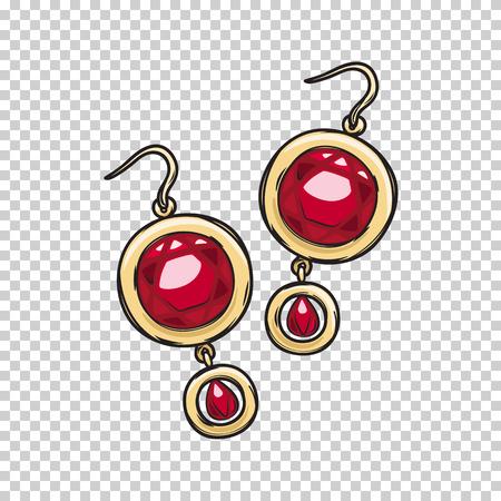 Luxuriöse Gold Ohrringe mit natürlichen Rubin Stein isoliert auf transparenten Hintergrund. Standard-Bild - 75794961