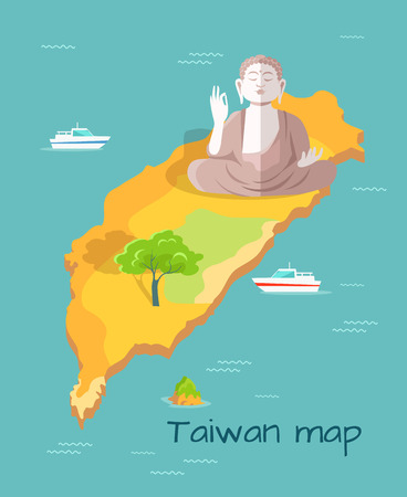 museum visit: Cartoon Taiwan Map with Buddha Statue Illustration Illustration