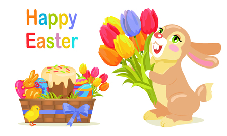 Happy Easter Postcard Design in Flat Style Vector Illustration