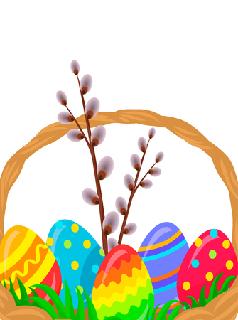 Paschal Wicker Basket With Easter Eggs Vector Çizim