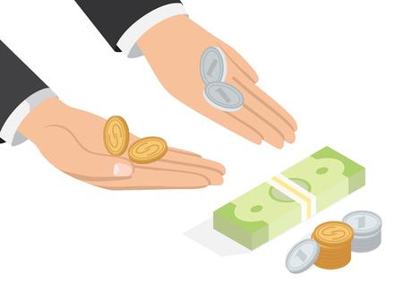 Offer of Money Isometric Projection Concept Vektorové ilustrace